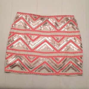 Sequined pink gold mini skirt